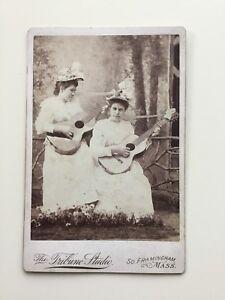 1800s-Victorian-Women-Musicians-Acoustic-Guitars-Antique-Cabinet-Card-Photo-MA