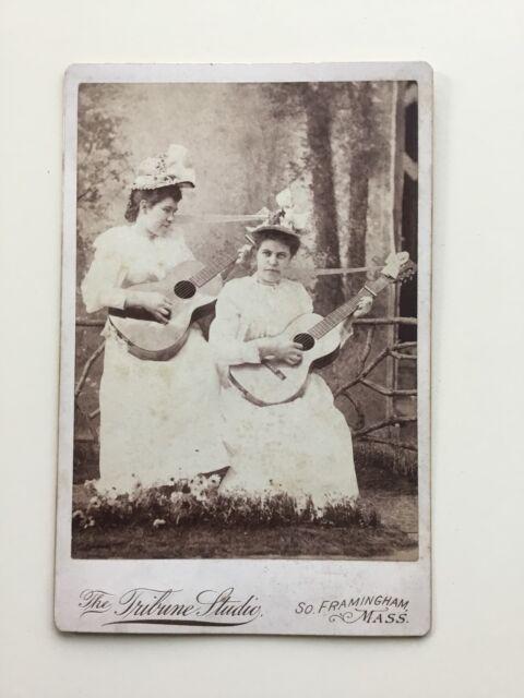 1800s Victorian Women Musicians Acoustic Guitars Antique Cabinet Card Photo MA