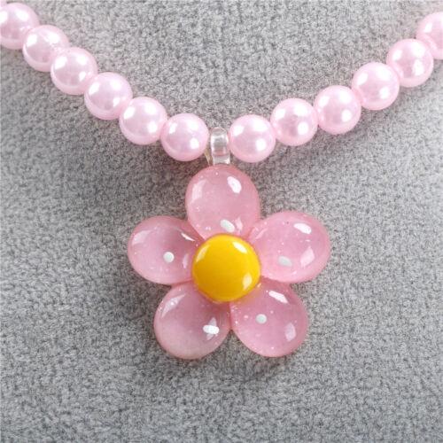 4Pcs Enfants Collier Filles Princesse Fleur perles Bracelet Ring Party Gift
