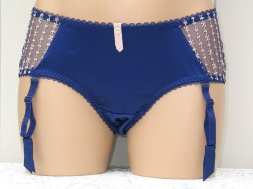 KNICKERS BLUE SILKY SATIN MESH UK SIZES 8 10 /& 12 with SUSPENDER STRAPS BNWT