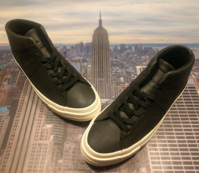d316578120775a Converse One Star Mid Top Leather Black Black-Egret Mens Size 10.5 157704c  New
