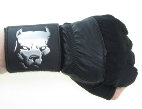 Fitness Bodybuilding Handschuhe schwarz Pitbull PLAYAZ Leder Handgelenk Profi