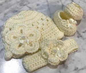 Baby Shoes Crochet Handmade Newborn 0-3 Months Ivory Off White