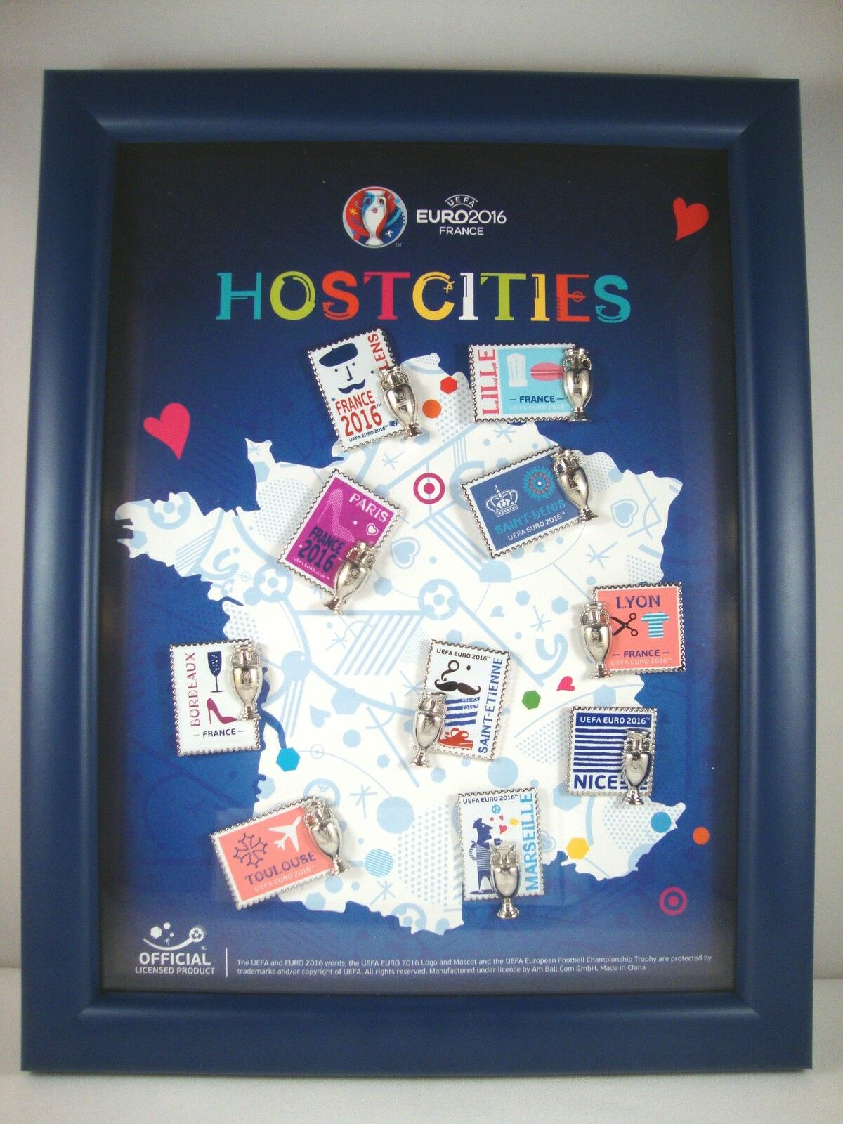 EM Pinrahmen    Hostcities  UEFA Euro France 2016 tm Pin Set Host Cities Städte f276bb