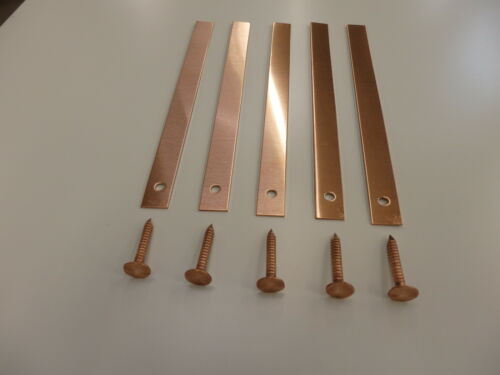 Copper Roofing Strips 200mm x 12mm x 0.9mm thick complete with copper nails