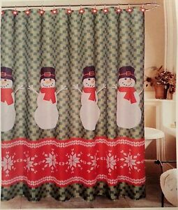 Christmas Fair Isle Snowman SHOWER CURTAIN /& Snowflake HOOKS set Fabric 70 X 72/""