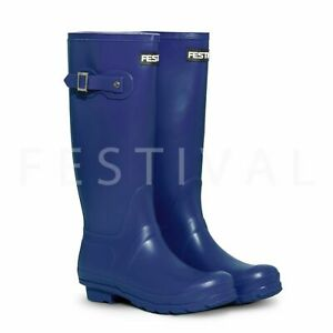 Womens-Ladies-Blue-Tall-Festival-Wellies-Wellington-Boots-Size-3-4-5-6-7-8-9