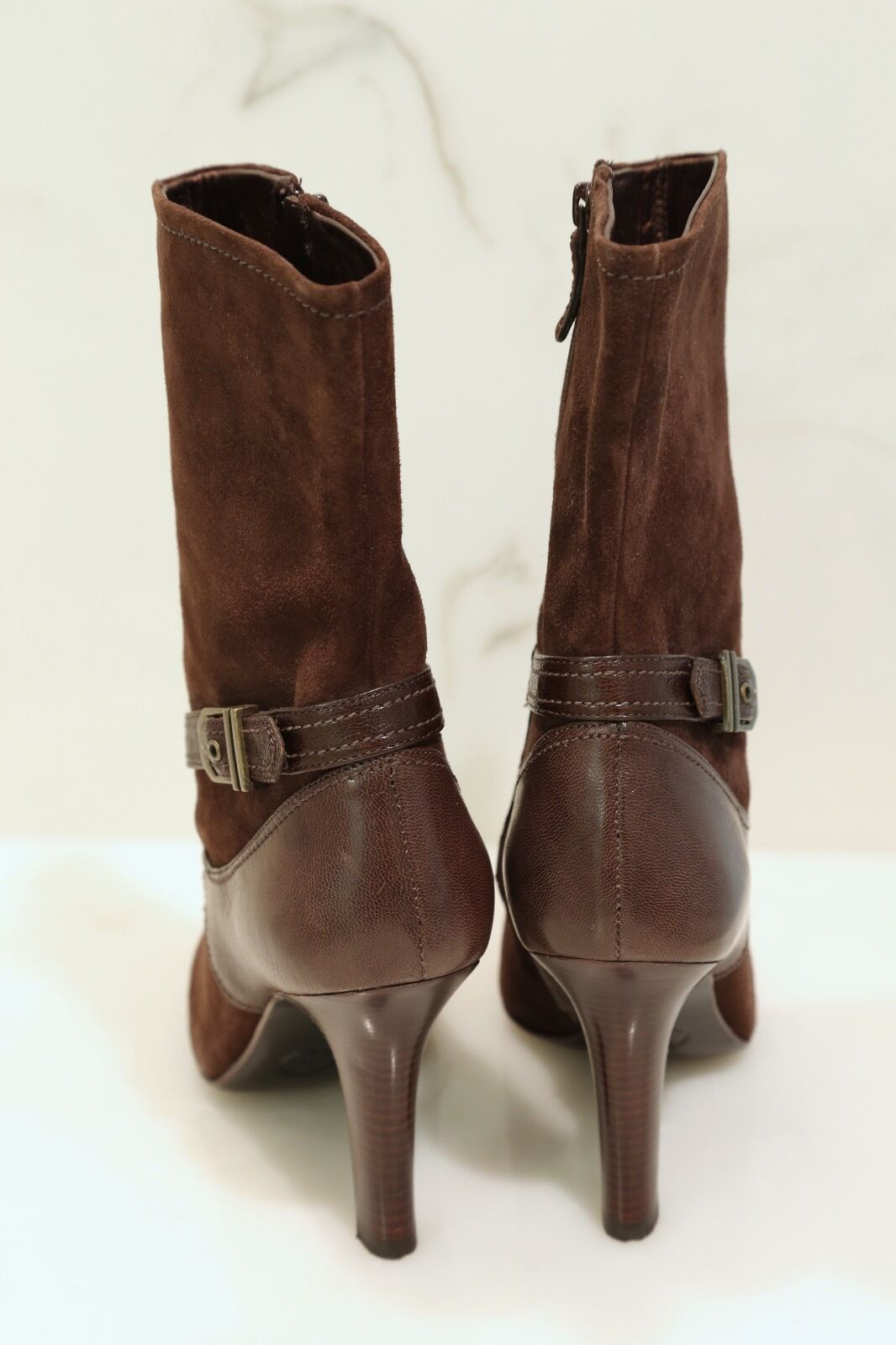 NWOB NWOB NWOB LADIES' COLE HAAN CHOCOLATE BROWN SUEDE ANKLE BOOTS - Size 9B 111f2a
