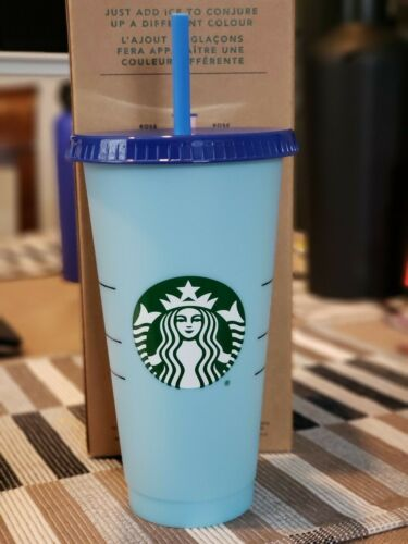 RARE! OFFICIAL Starbucks Reusable COLOR CHANGING Cold Cup 24 oz ONE CUP