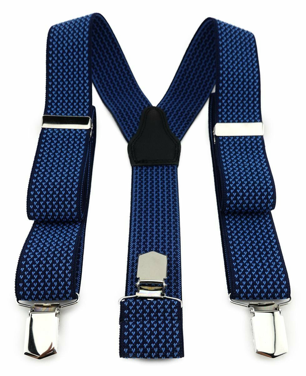 Tigertie Unisex Braces with 3 Extra Strong Clips-Blue Dark Blue Patterned