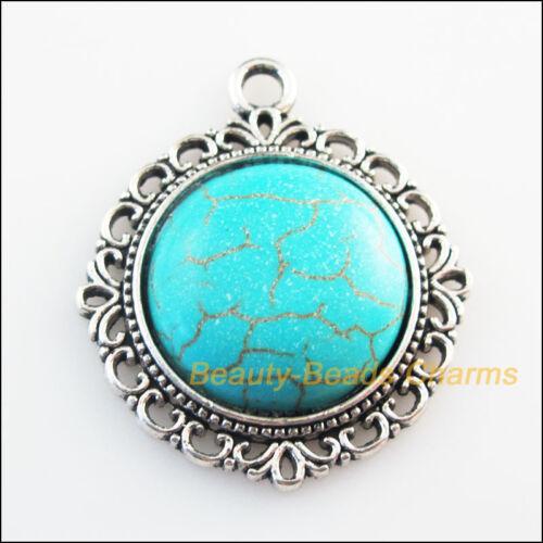2Pcs Rétro Charms Tibetan Silver Tone Turquoise Rond Fleur Pendentifs 30.5x35mm