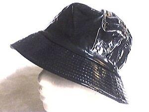 toller-Regenhut-marine-ausgefallen-Damenhut-Kunstleder-Lack-rollbar