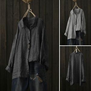 Mode-Femme-Simple-Revers-Boutons-Ample-Manche-longue-Tops-Hauts-Chemises-Plus