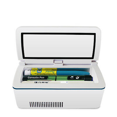 Portable Insulin Cooler Box MINI Fridge Insulin 2 Internal Batteries Car Adapter