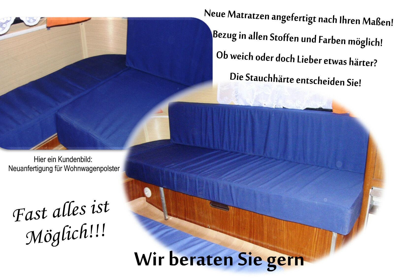 Matratze f. Wohnwagen Stiefel Wohnmobil Polster Auflagen Sitzpolster Kissen