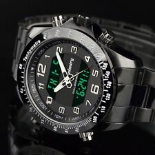 INFANTRY Mens Digital Quartz Wrist Watch Chrono Sport Army Black Stainless Steel