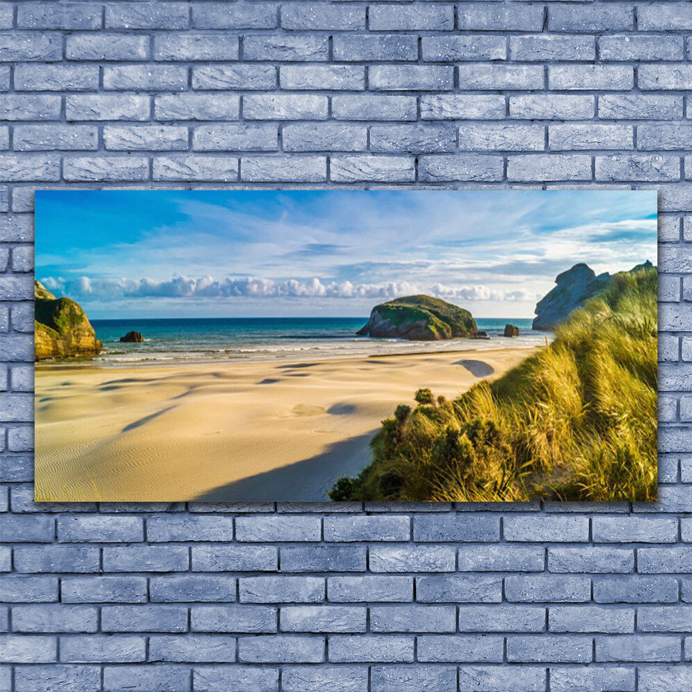 Canvas print Wall art on 140x70 Image Picture Beach Rocks Landscape