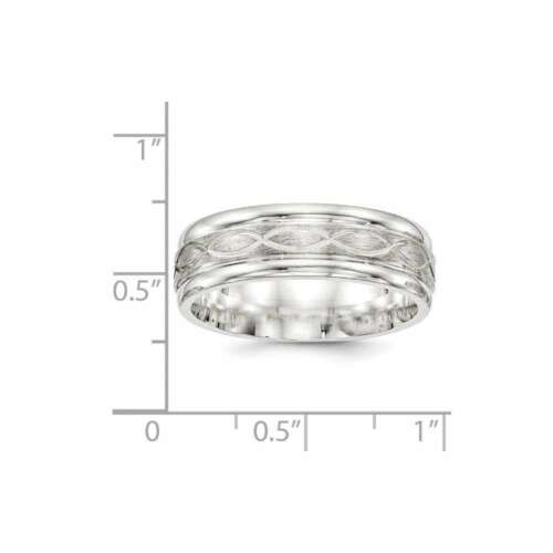 Details about  /Sterling Silver 7mm Brushed Fancy Band Ring QWB132B
