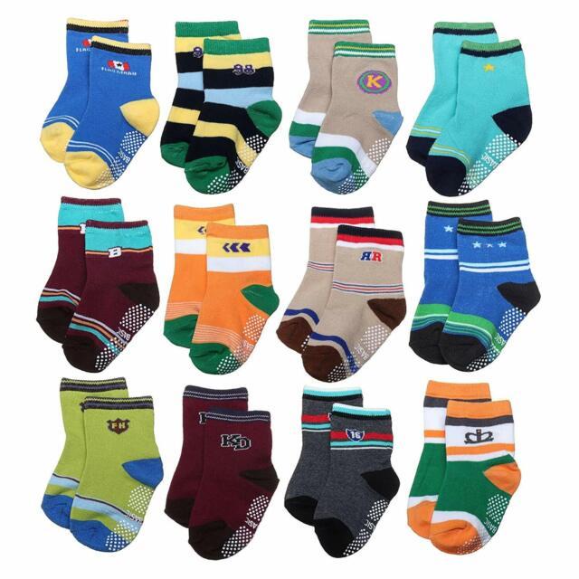 6 Pairs Toddler Baby Boys Girls Anti Slip Crew Walker Ankle Grip Socks 2T /& 3T
