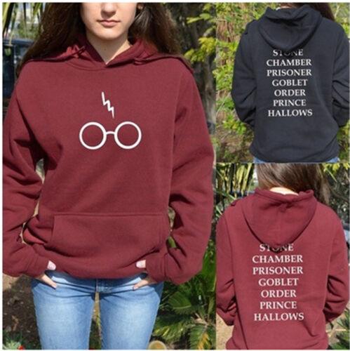Harry Potter Lunettes Lightning Loose Women Pull Capuche à Capuche Tops 3 Couleur