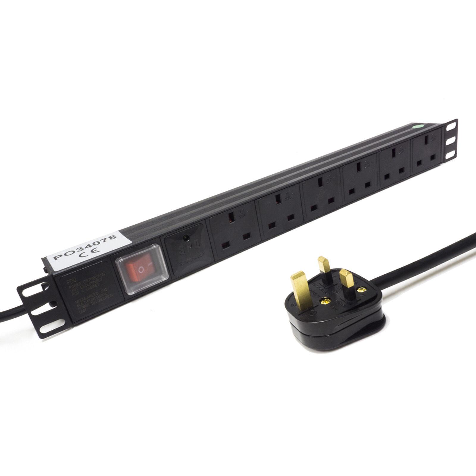 1U 48.3cm Rack Halterung Pdu Strom Streifen. Anstieg Sicher UK Stecker auf 6