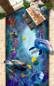 3D Turtle Dolphins 55 Floor WallPaper Murals Wall Print 5D AJ WALLPAPER UK Lemon