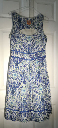 Tory Burch Dress Blue And Sage Green And Cream Siz