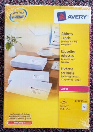 Avery Autocollante Adresse étiquettes ref L7173-100 pages @ 10 étiquettes par page