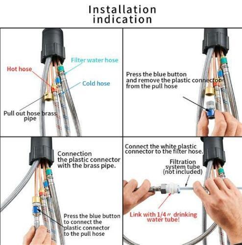 3-Wege Küchenarmatur Reines Wasserfilter Wasserhahn 360° 2 Griffe Mischbatterie