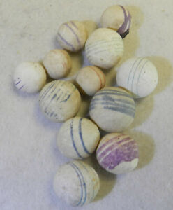 #12992m Vintage Group or Lot of 12 Small German Handmade Unglazed China Marbles