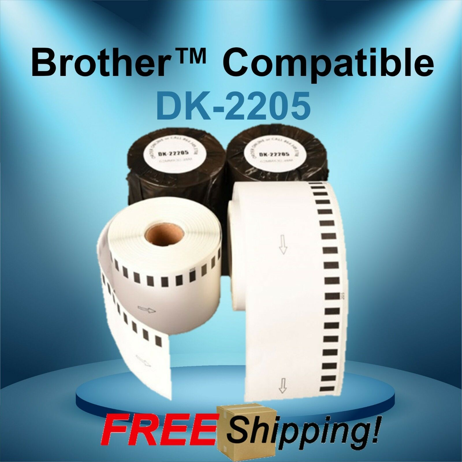 8 Rolls Labels123 Brand-Compatible DK-2205 Brother Continuous Labels 1 Frame