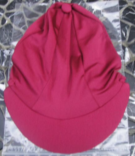 Riding Hat Silk skull cap cover PLAIN BURGUNDY MAROON with or w//o Pompom