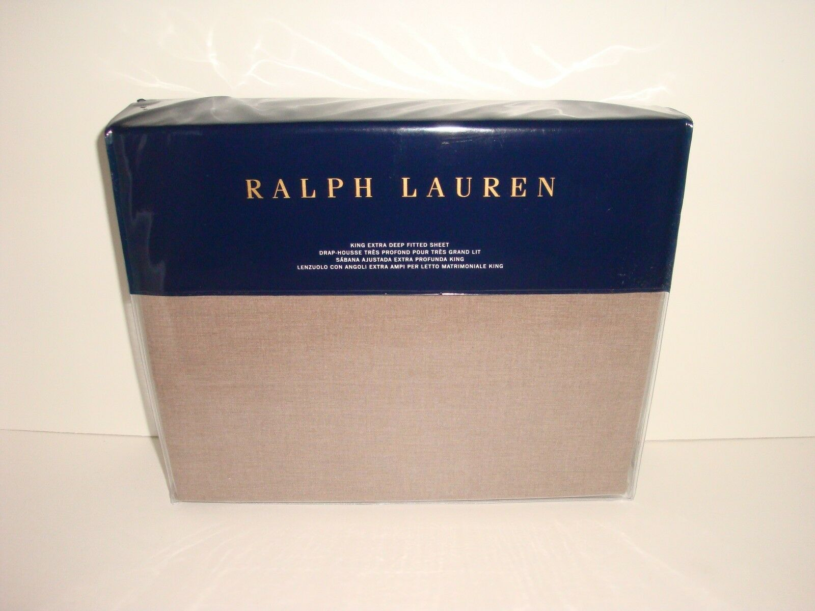 Ralph Lauren Modern Icons redh King Extra Deep Fitted Sheet NIP Taupe Cotton