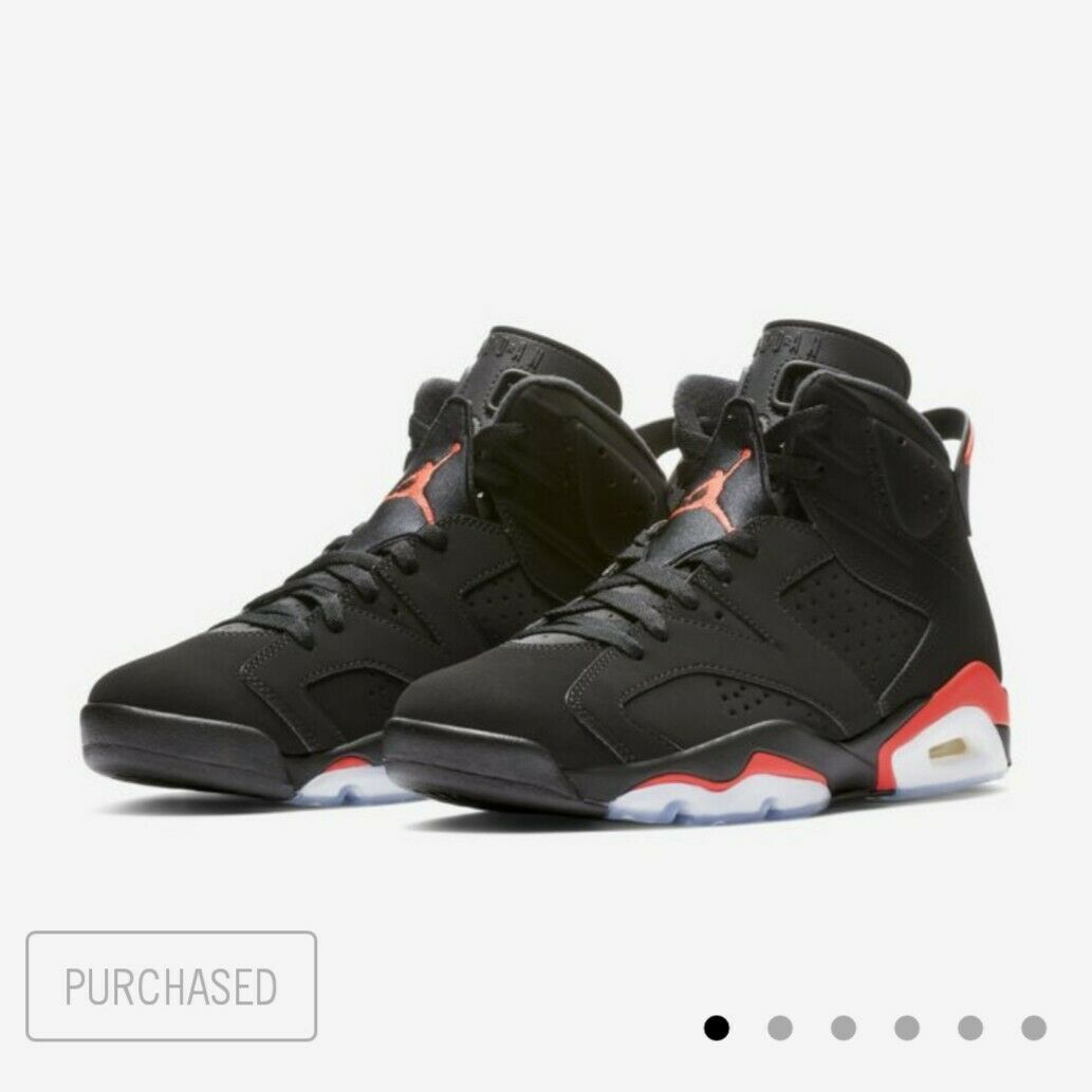 NIKE AIR JORDAN 6 RETRO INFRARED BLACK SIZE 12 - IN HAND AND READY TO SHIP