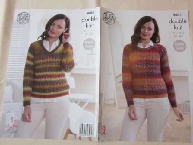 783bba06053ed9 Knitting Pattern Ladies Round or V-neck Lace Jumpers Riot DK King ...