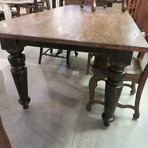 84 Farmhouse Leg Dining Table Black Distressed Reclaimed Wood Top