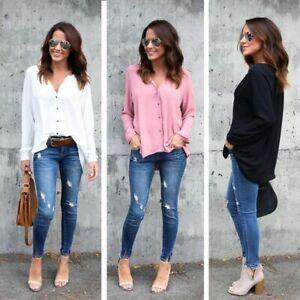 Boton-Mujeres-Cuello-V-gasa-Camisas-de-manga-larga-Blusa-holgada-Casual-Tops