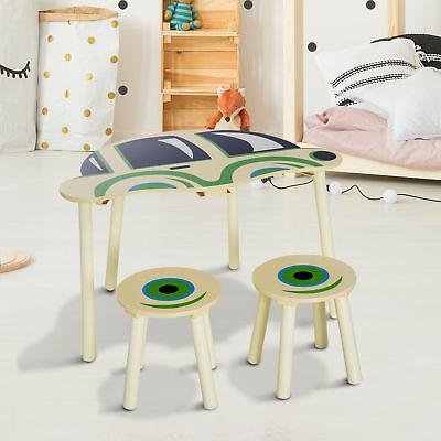 HOMCOM Kindersitzgruppe Kindertisch Kindermöbel Auto mit zwei Stühlen