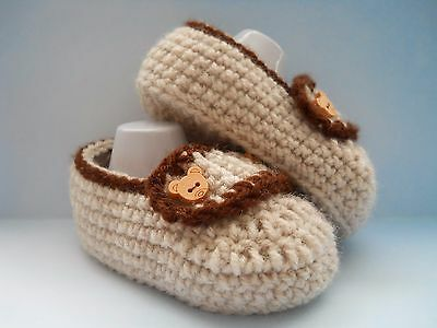 Hecho a mano de ganchillo/punto bebé Chicos Estilo Mocasín Zapatos/Botines 4 Tamaños