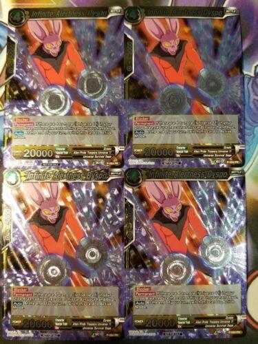 Infinite Alertness Dyspo FOIL 4x P-054 PR  Dragon Ball Super PLAYSET