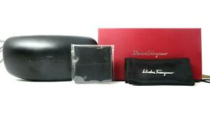 SALVATORE-FERRAGAMO-Black-Eyeglass-Glasses-Sunglasses-Clamshell-Hard-Case-Cloth