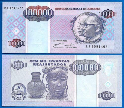Angola P-139 100,000 Kwanzas Year 1.5.1995 Banknote Uncirculated