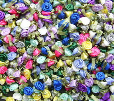Small Satin Ribbon Roses Buds Embellishments * Choose Your Colour & Packet Size