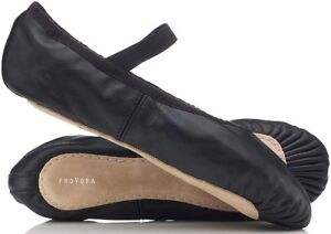 ffc932a5f2 BLACK Leather Ballet Shoes. Full Sole. Men's, Boys, Girls Pre Sewn ...