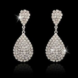 Long-Crystal-Drop-Earrings-Diamante-Bridal-Rhinestone-Silver-Dangle-Chandelier