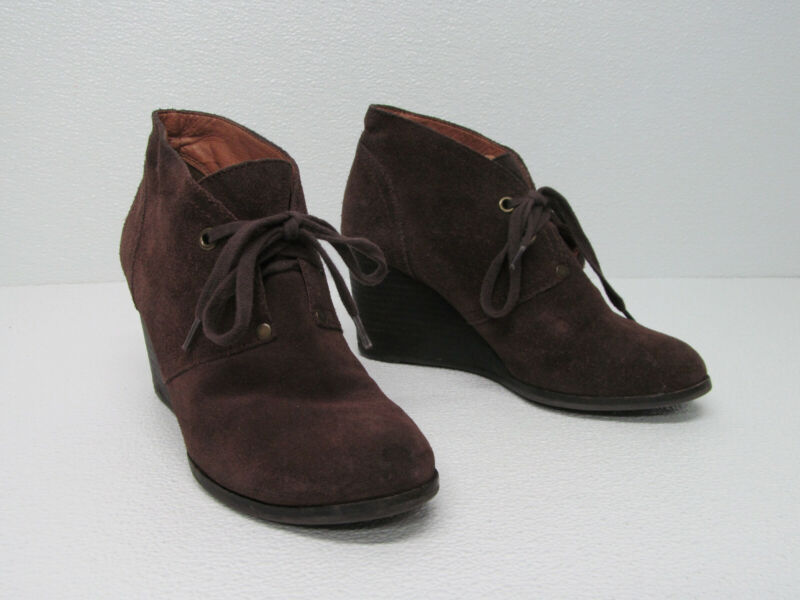 Lucky Brand Sway Brown Suede Wedge Ankle Bootie Lace Up Size Women's 7.5m/37.5
