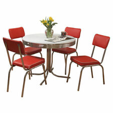 Retro Kitchen Table And Chairs Dining Set Dinette Mid Century Vintage Style  Red