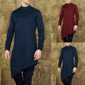 Men-039-s-Casual-Solid-Long-Sleeve-Indian-Shirts-Kaftan-Tops-Pullover-Kurta-Clothes