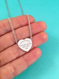 Tiffany Co Serling Silver Double Chain Return To T Heart Tag Necklace 16 Ebay