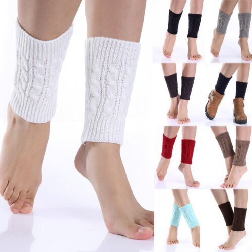 Women Warm Winter Crochet Boot Cuff Shell Knit Toppers Boot Socks Leg Warmer FH